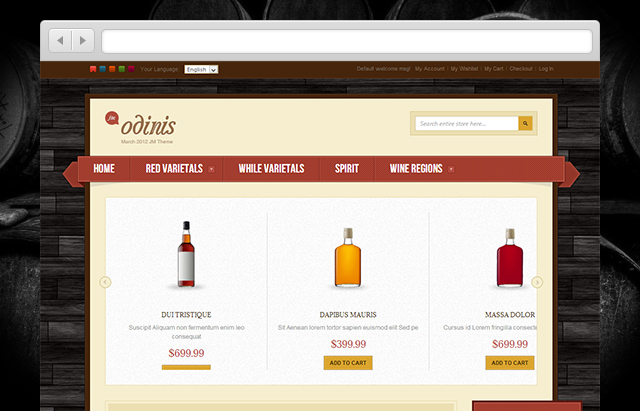 JM Odinis Magento theme for winery e-stores