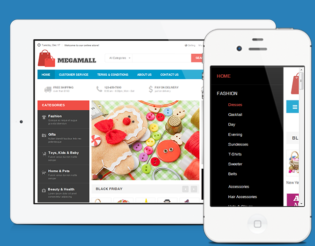 Homepages for mobile devices in responsive Magento theme JM Mega Mall