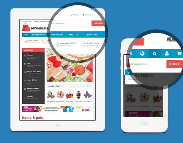 Search box in responsive Magento theme JM Mega Mall