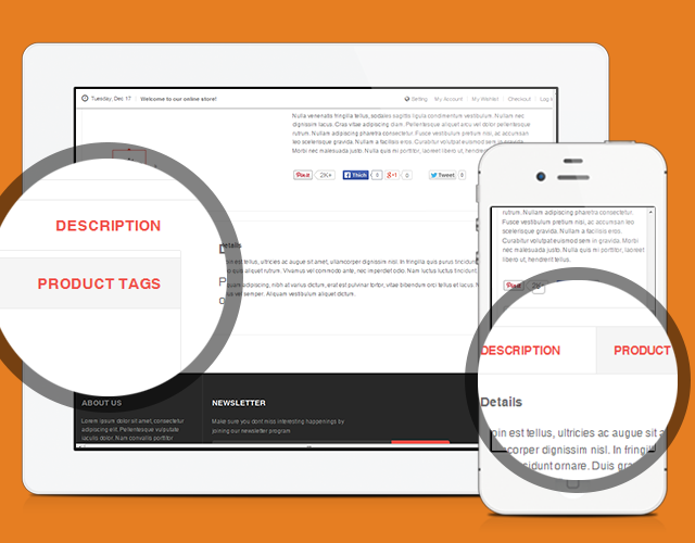 Tabs for Product page in responsive Magento theme JM Mega Mall