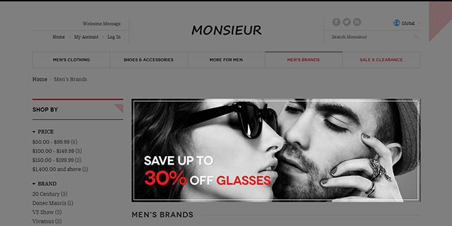 Responsive Magento theme JM Monsieur supports Magento extension JM Masshead