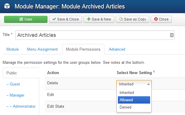 Access control in Joomla 3.2