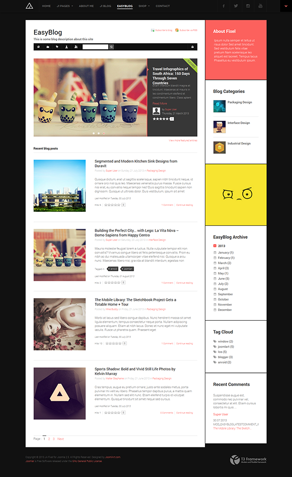 Review: Responsive Joomla Template JA Fixel with EasyBlog