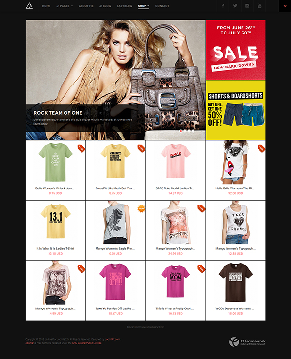 Joomla responsive template JA Fixel featuring JoomShopping component
