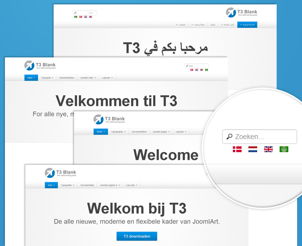 T3 Blank demo in 4 languages