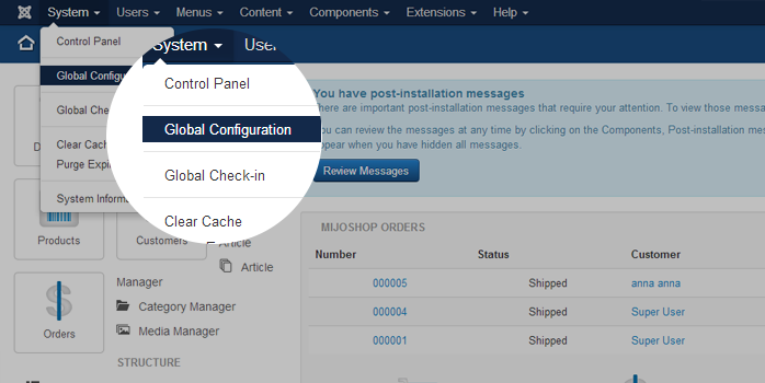Access Global Configuration in the back-end setting