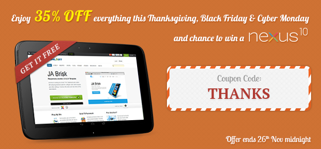 Thanksgiving Sale - 35% OFF everything plus a chance to win a Google Nexus 10 Tablet [ENDED]
