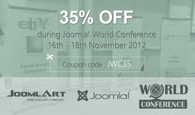 Enjoy 35% OFF during Joomla World Conference, Nov 16-18