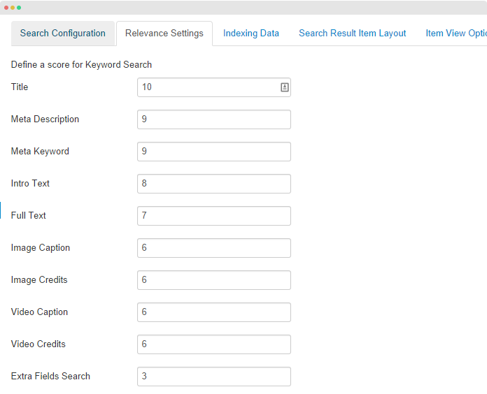 Relevance search setting