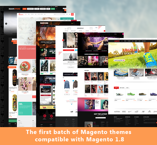 Magento 1.8.0.0: the first batch of Magento themes got upgraded