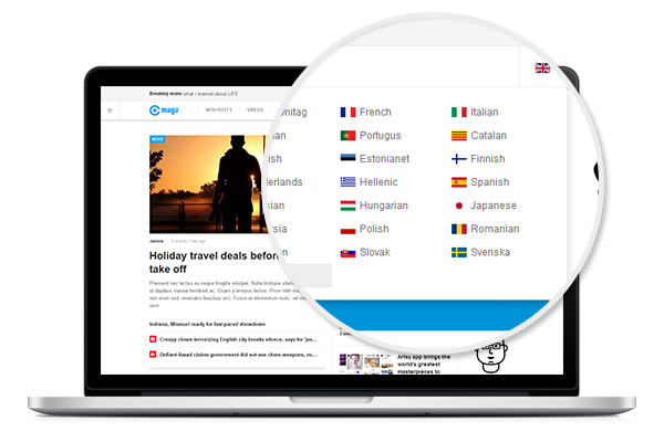 A Joomla Multilingual Magazine template supporting 41 languages