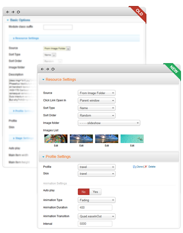 Your Back-end UI for your JA Slideshow before and after the update