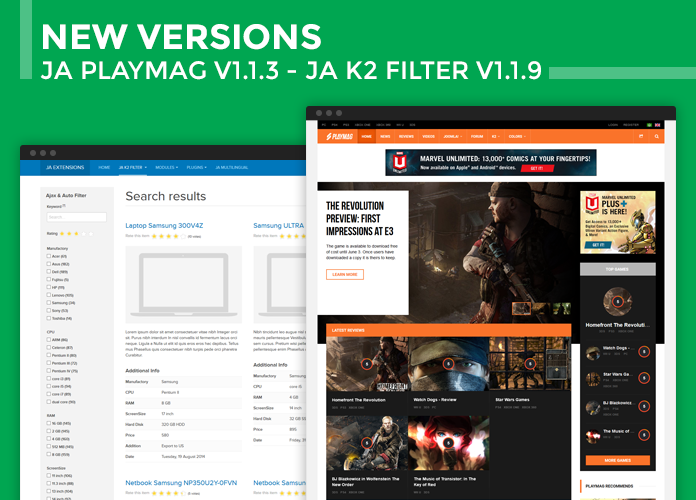 JA PlayMag Joomla template and JA K2 filter component - Bug fix and Improvement release