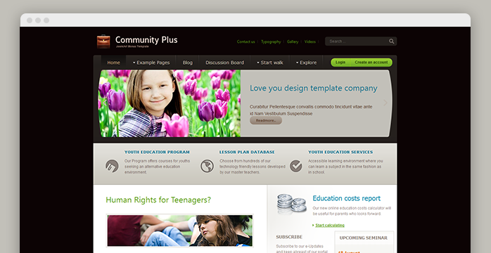 Responsive joomla template for community
