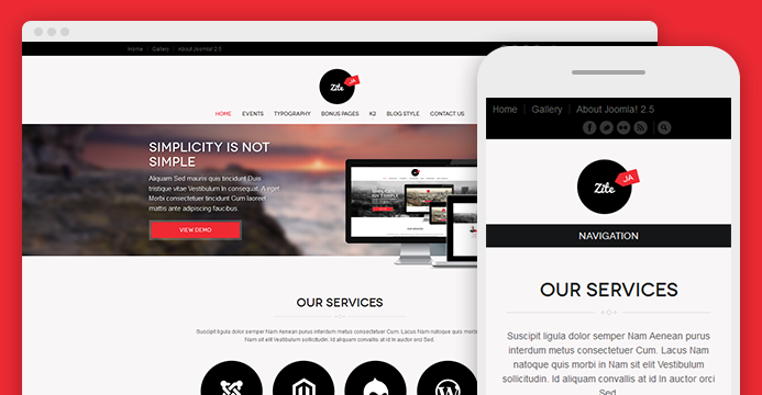 JA Zite responsive joomla template for business