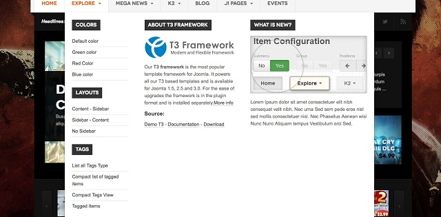 Tags are compatible with the awesome T3V3 Framework