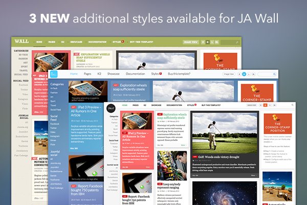 Responsive Joomla template bundle - JA Wall released with 3 more styles