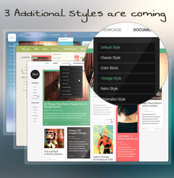 Sneak peek on the new styles for the Responsive Joomla template bundle - JA Wall