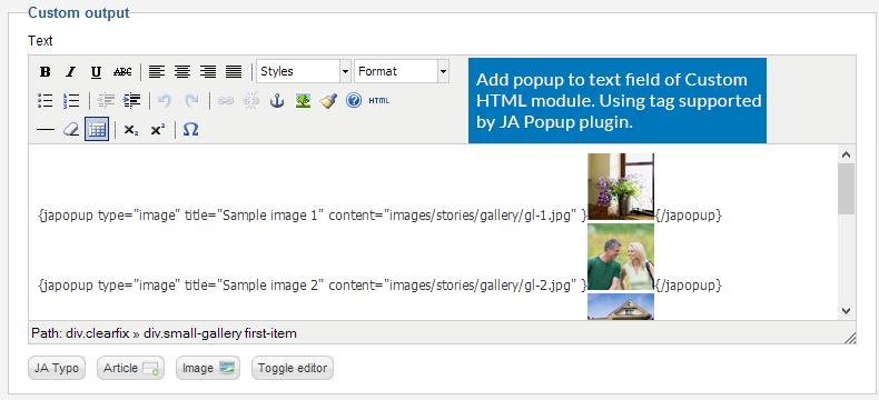 JA Popup Plugin - Joomla extension documentation | Joomla