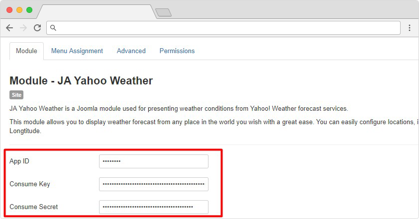 JA Weather Joomla extension documentation
