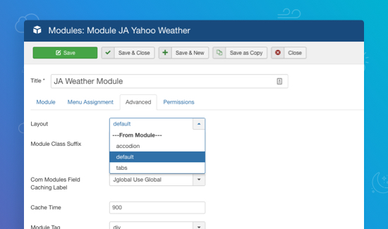 ja joomla yahoo weather extension layout setting