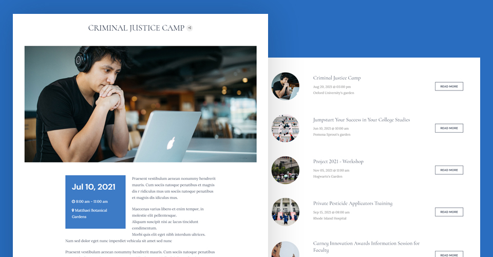 Joomla university events template