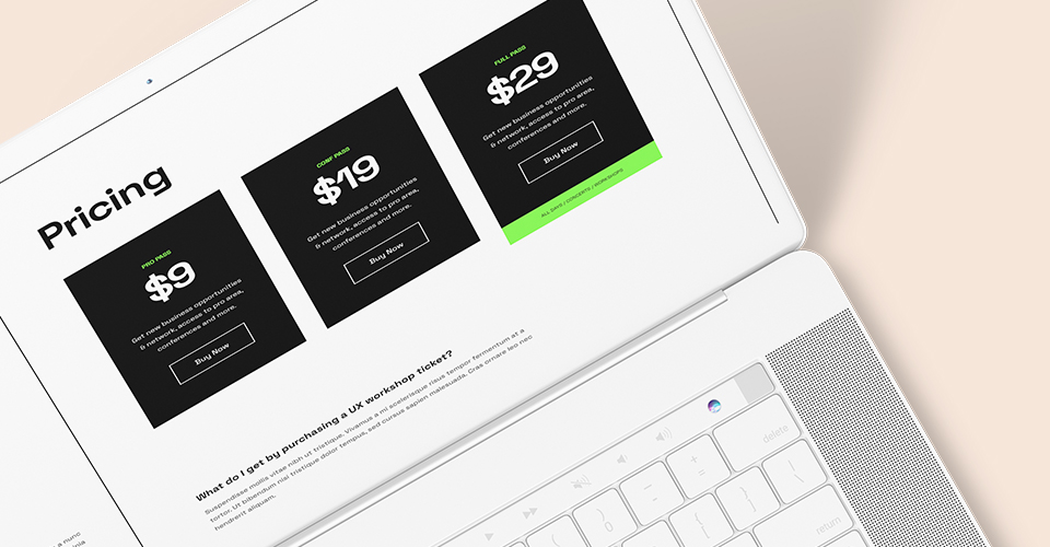 responsive events joomla template pricing page