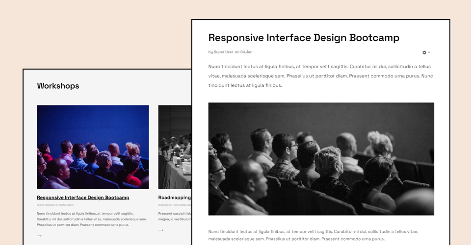 events joomla template workshop page