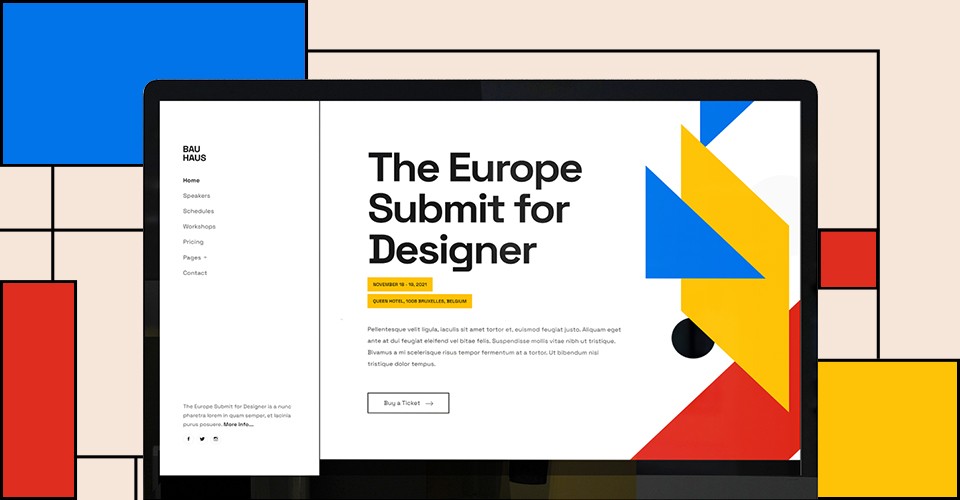 Bauhaus design Joomla events and conference template