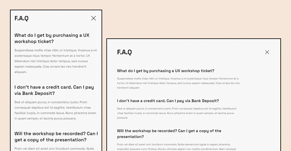 joomla events booking template faqs page