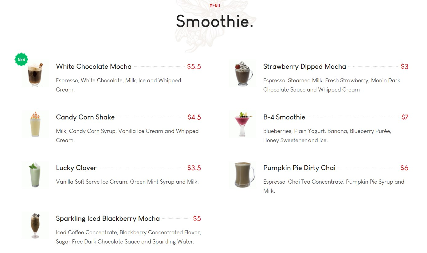GK blend Smoothie menu section