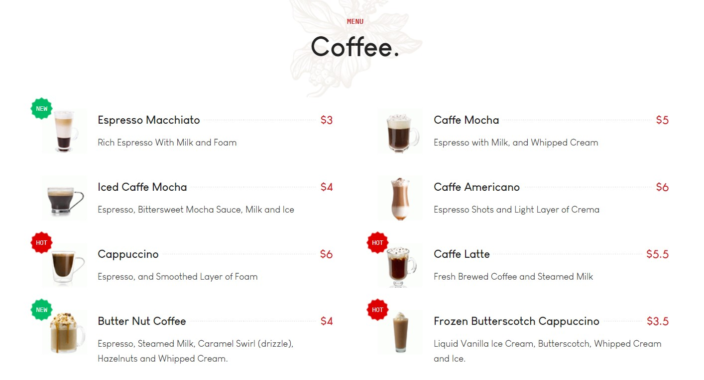 GK blend menu section