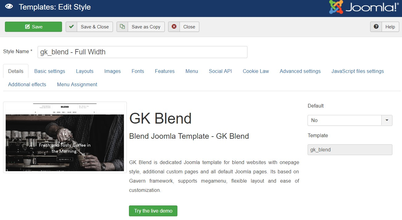 GK Blend template settings