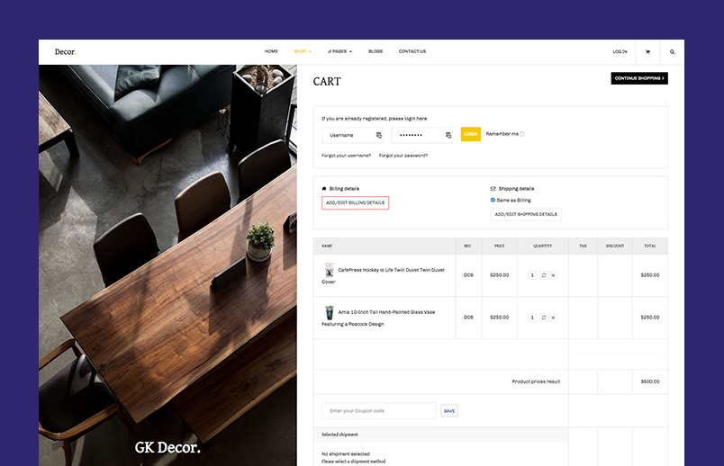decor joomla template checkout page GK Decor