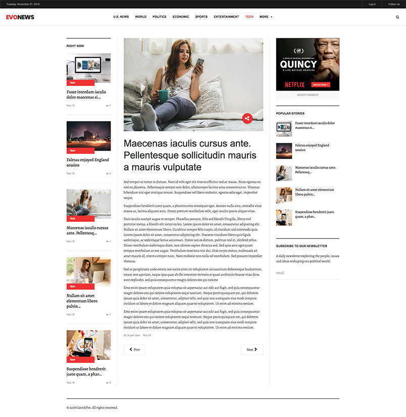 news joomla template detail page GK Evo news
