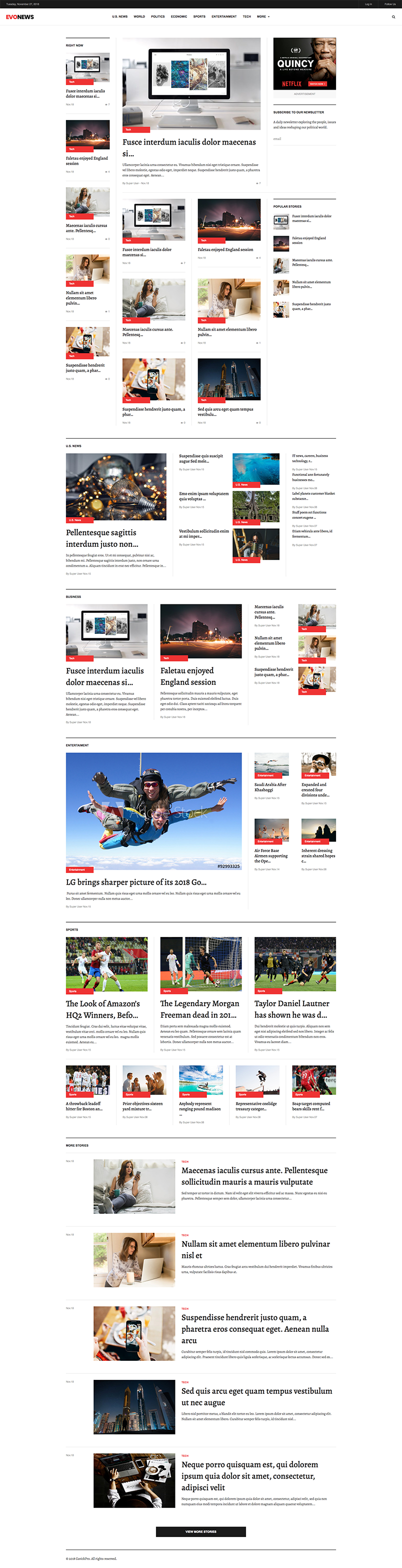 news and magazine joomla template home page GK Evonews