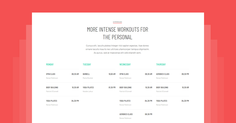 gym Joomla Template class timetable design