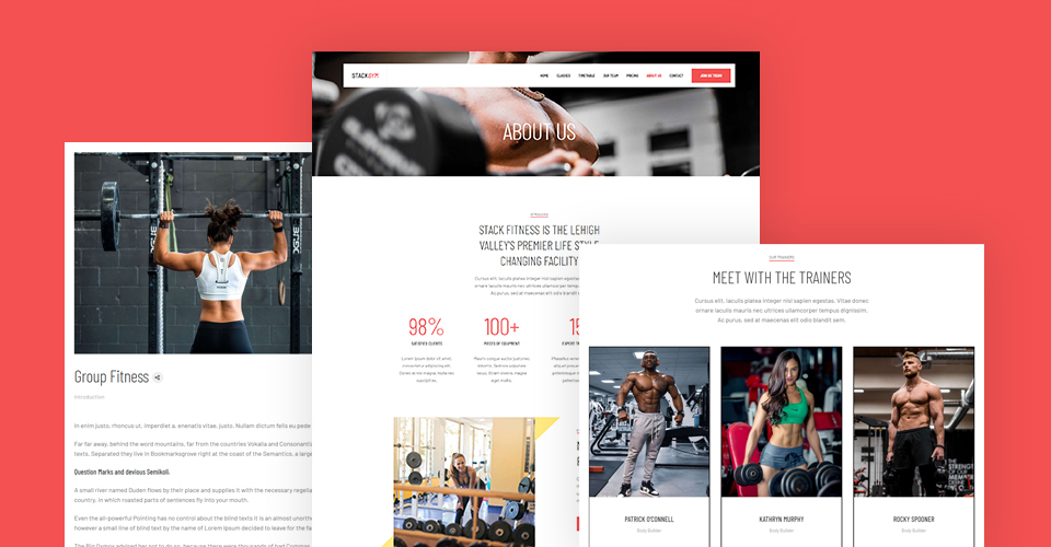 Joomla fitness Template pages