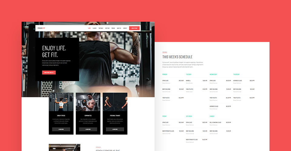 Joomla gym and fitness template