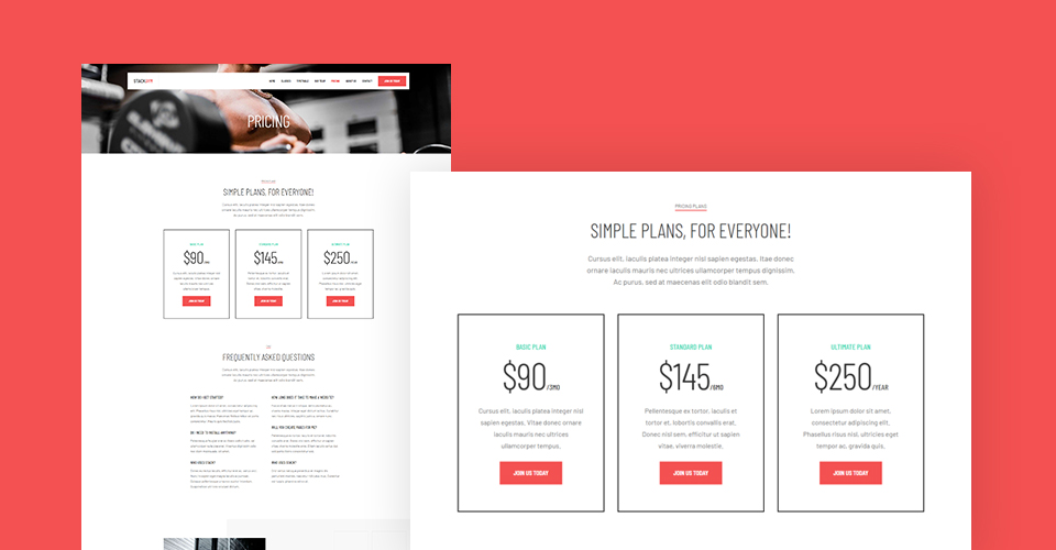 Joomla gym Template pricing page