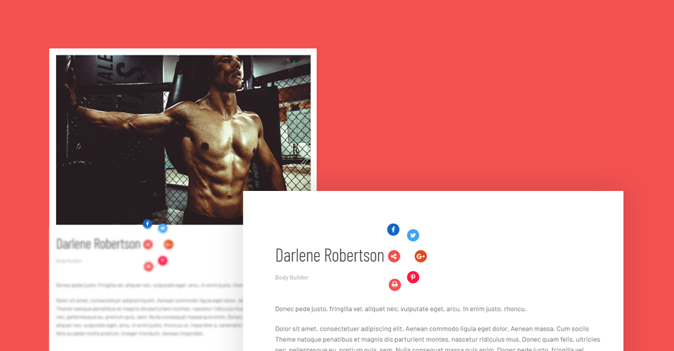 Amazing social share buttons- Fitness Joomla Template
