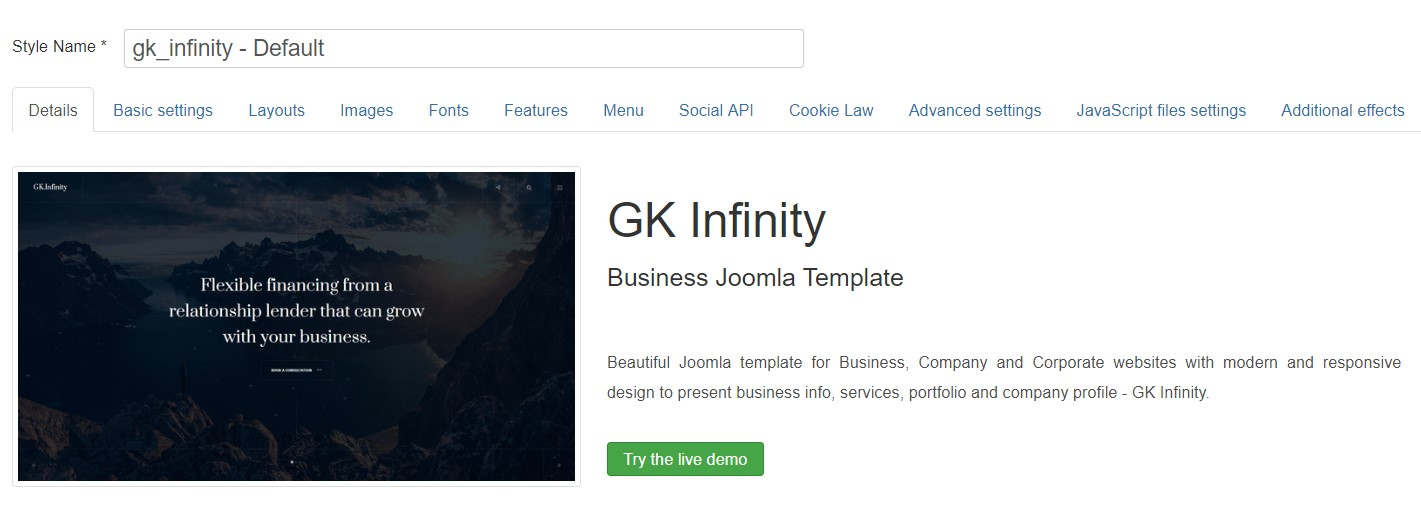GK Infinity template settings