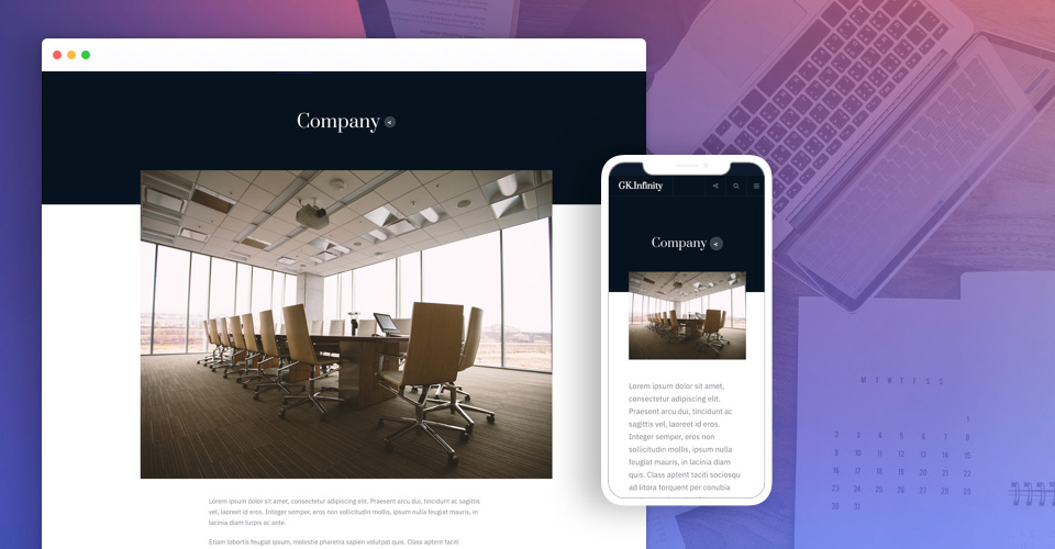 Flexible Layout to show company profile - gavick Infinity Joomla template