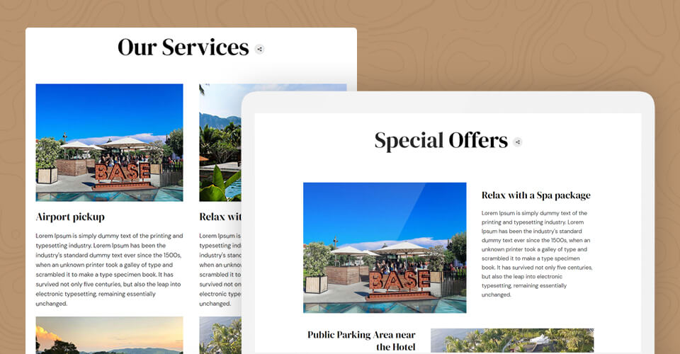 Joomla template for hotel and resort website