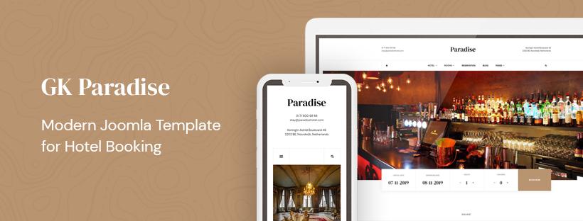 创意酒店预订Joomla模板-GK Paradise Joomla模板