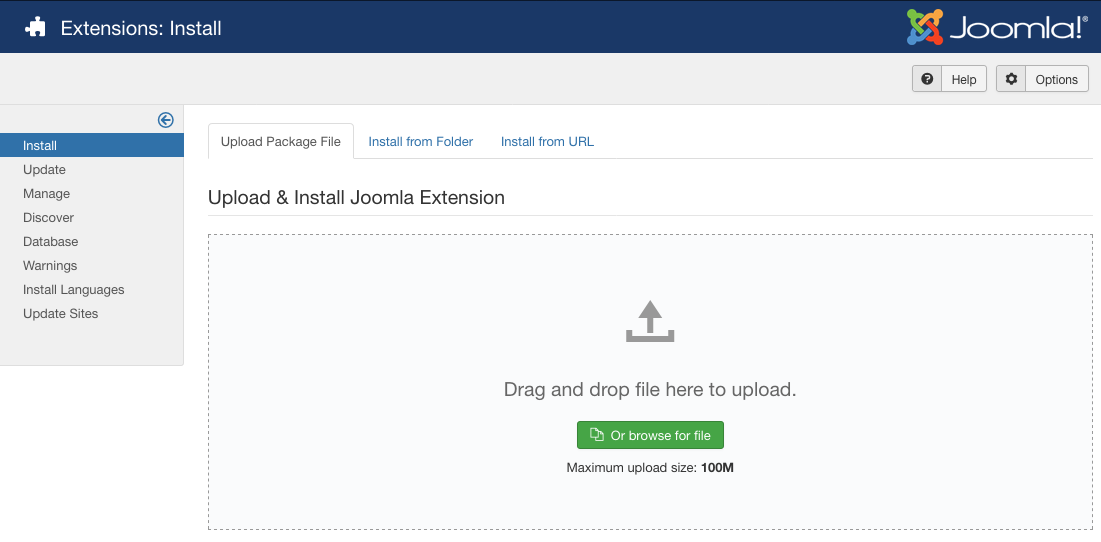 opening the joomla extension manager