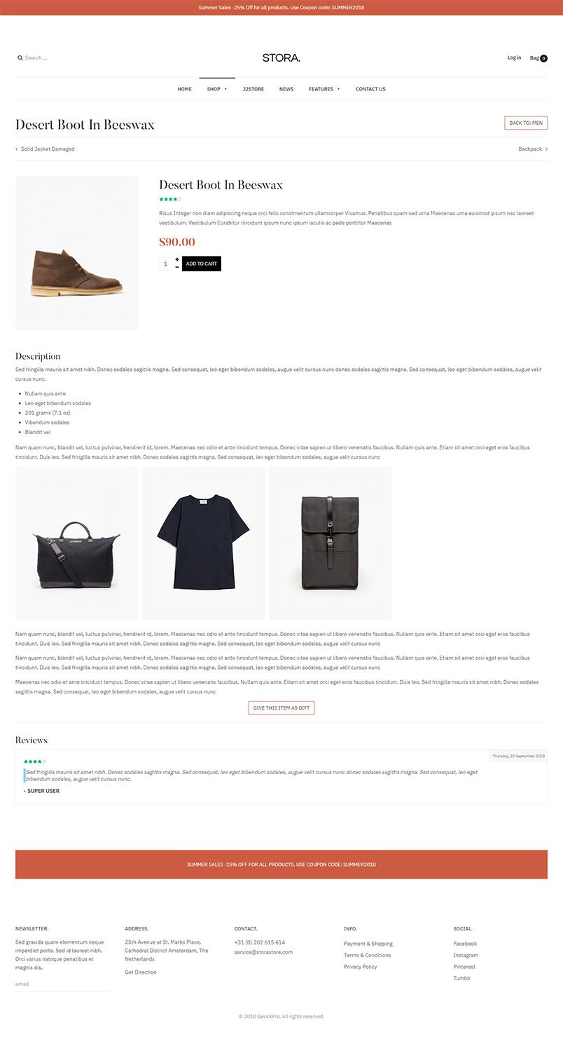 ecommerce page joomla template product detail page GK Stora