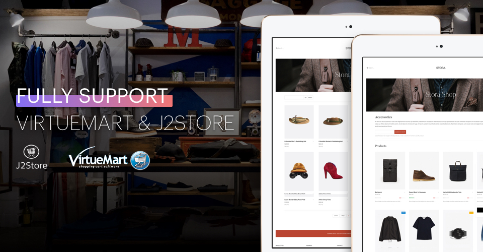 Virtuemart and J2Store eCommerce Joomla template