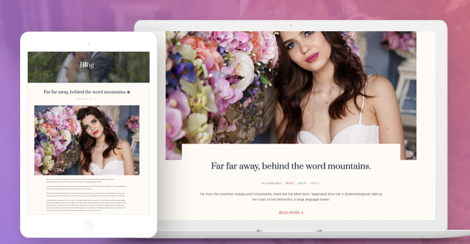 blog page for Joomla wedding template