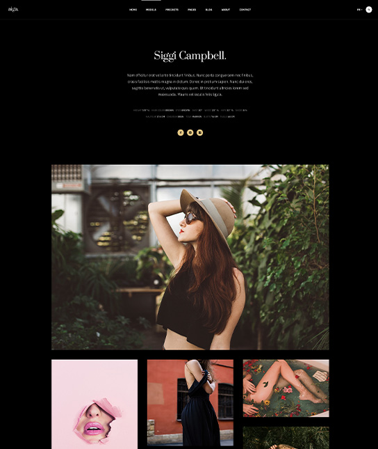 Fashion Joomla template model page - JA Aiga